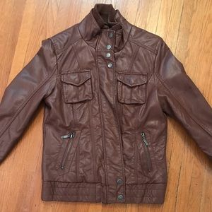 Faux brown leather bomber jacket size Medium